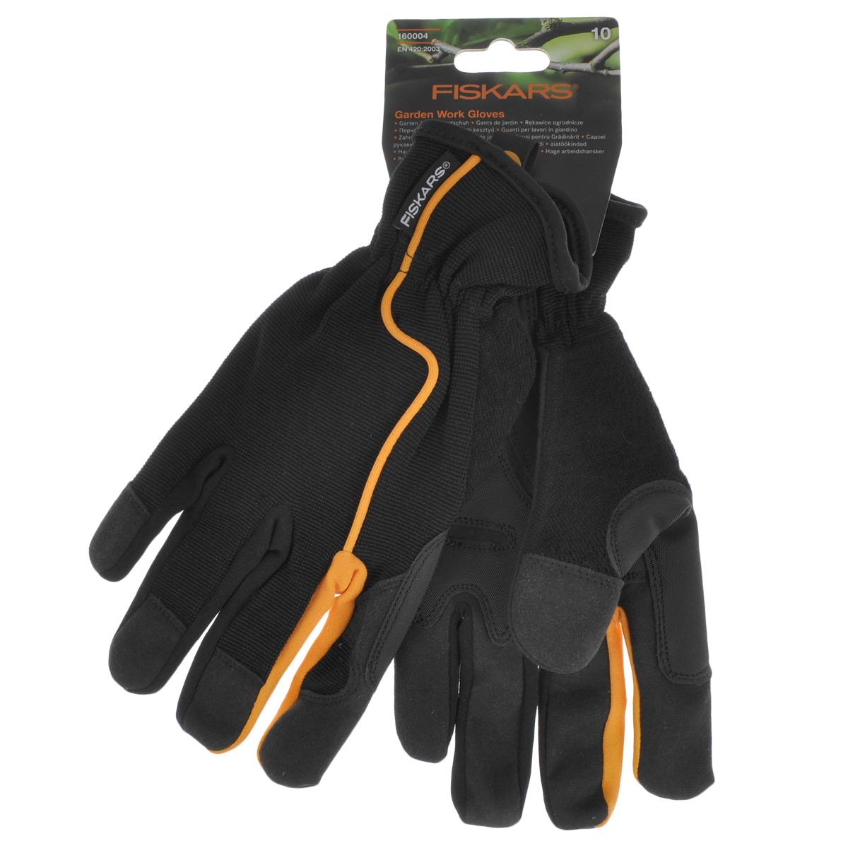 Перчатки садовые Fiskars, цвет: черный, оранжевый. Размер 10160004Перчатки Fiskars изготовлены из текстиля с вставками искусственной замши и резины. Они предназначены для защиты рук от повреждений. Перчатки не сковывают движения кистей рук и обеспечивают доступ воздуха. На ладонях имеется противоскользящие вставки для надежного захвата. Манжеты на резинке плотно обхватывают запястья. Мягкие перчатки удобно сидят по руке, не соскальзывая и не отвлекая от работы.