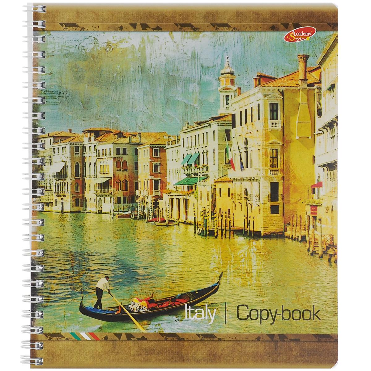 Тетрадь Италия в картинах: Венеция, 80 листов, формат А55687/3_ВенецияТетрадь в клетку Италия в картинах: Венеция с красочным изображением на обложке подойдет как студенту, так и школьнику. Обложка тетради с закругленными углами выполнена из картона. Внутренний блок состоит из 80 листов белой бумаги на гребне. Разметка страниц стандартная - в клетку, без полей.