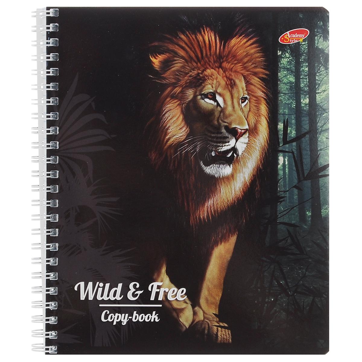 Тетрадь Wild & Free. Lion, цвет: черный, 96 листов7168/3_ЛевТетрадь Wild & Free. Lion с представителем дикой природы подойдет для любых работ и студенту, и школьнику. Обложка оформлена изображением льва и выполнена из мелованного картона с закругленными углами. Внутренний блок тетради состоит из 96 листов бумаги на гребне белого цвета. Все листы расчерчены в клетку без полей.