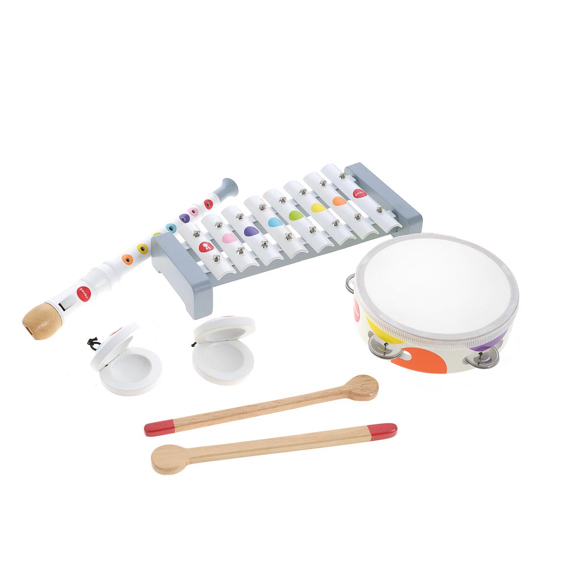 Набор музыкальных инструментов Janod Confetti, 4 предметаJ07600Набор музыкальных инструментов Janod Confetti - это отличный подарок для вашего маленького музыканта. Набор состоит из металлофона, бубна, флейты и кастаньет. Металлофон имеет 8 металлических пластин. При ударе деревянным молоточком по пластинам металлофон издает приятный звонкий звук. Длина игрушки 25,5 см. Бубен обтянут настоящей кожей, его корпус сделан из настоящей древесины. Диаметр бубна - 15 см. Флейта выполнена из дерева. Кастаньеты -выглядят и звучат как настоящие. Предметы набора выполнены из экологически чистого материала и имеют оригинальный дизайн и веселую приятную расцветку: на белом фоне расположены яркие разноцветные кружочки в виде конфетти. Игрушки упакованы в фирменную подарочную коробку.