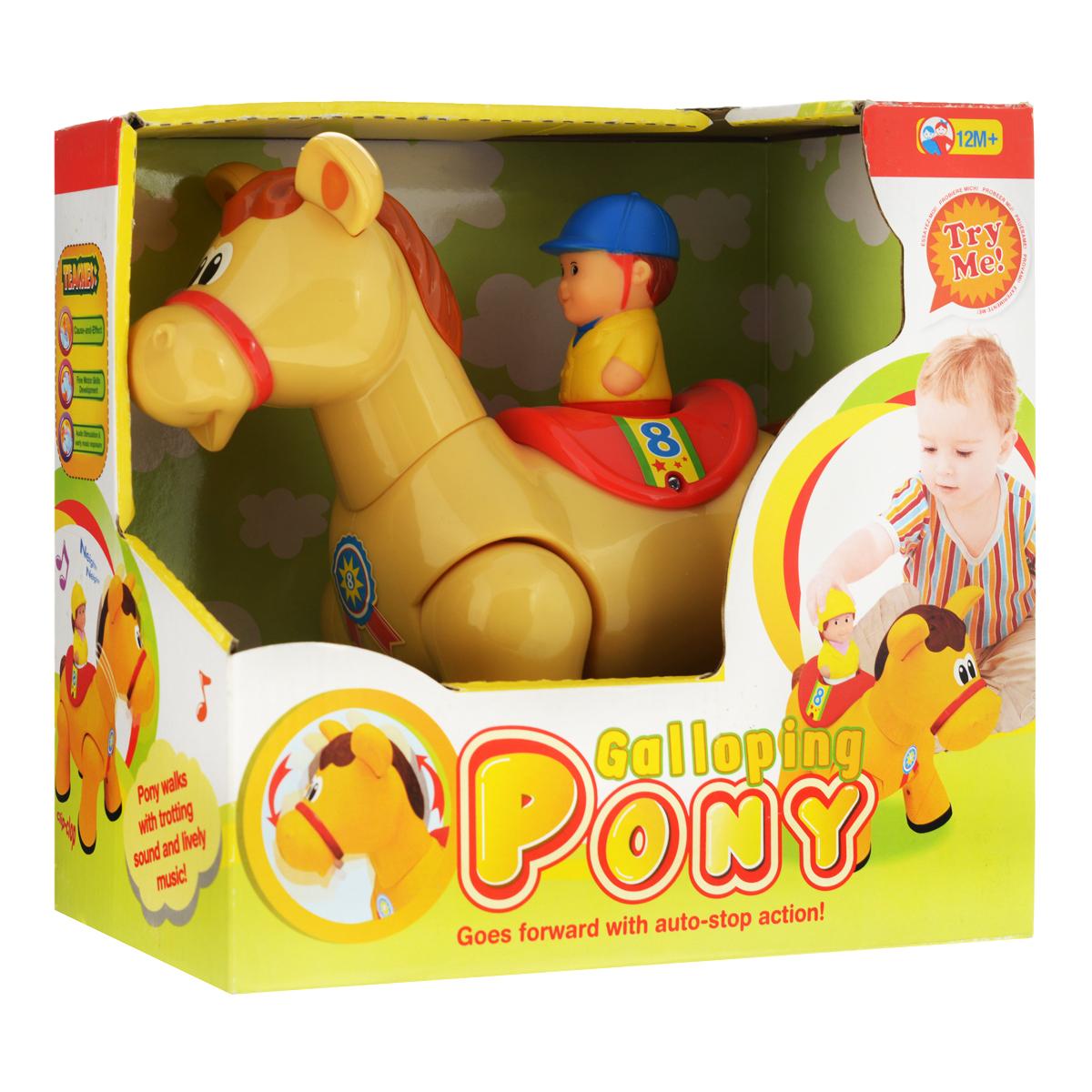 Развивающая игрушка Kiddieland ПониKID 051375Развивающая игрушка Kiddieland Пони не оставит малыша равнодушным, доставив ему множество веселых моментов. Лошадка может скакать вперёд, кивая головой, с забавными звуками и весёлой музыкой (слышится цокот копыт, ржание) и разворачиваться на 360°. Питание: 3 батареи 1,5V АА (входят в комплект).