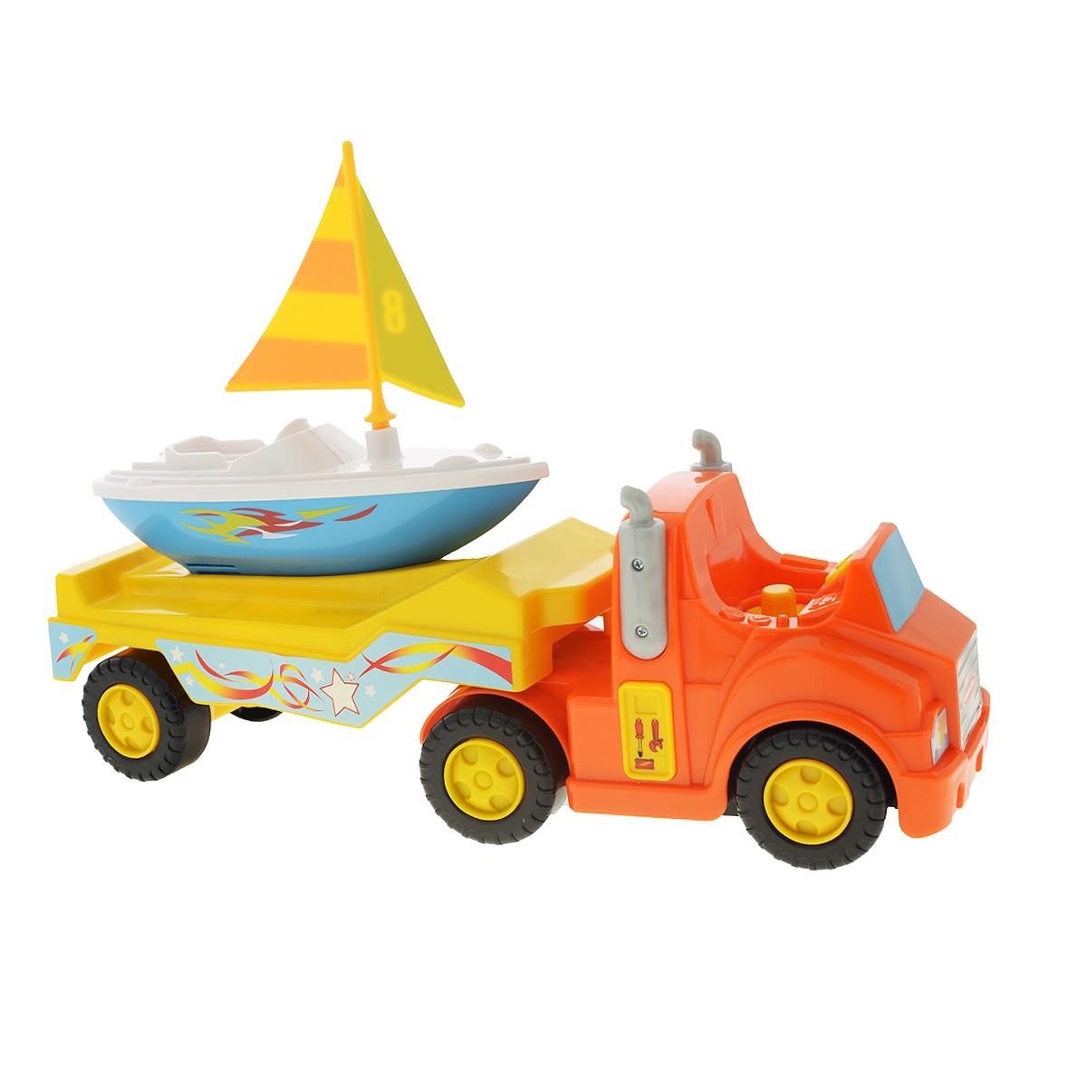 Kiddieland Развивающая игрушка Трейлер с яхтойKID 047928.1Развивающая игрушка Kiddieland Трейлер с яхтой - это отличный подарок для малыша. Развивающая игрушка формирует мышление, логику, способствуют гармоничному развитию ребенка. Игрушка выполнена из пластмассовых деталей и окрашена в яркие цвета. При нажатии кнопок на кузове трейлера звучат веселые мелодии. Яхта прекрасно держится на воде, поэтому малыш может играть с ней во время купания. В набор входят: трейлер с водителем, яхта с парусом (без мотора), две батарейки. Игрушка способствует развитию познавательной активности, игровой деятельности. Тип батареек 1.5 АА - 2шт.