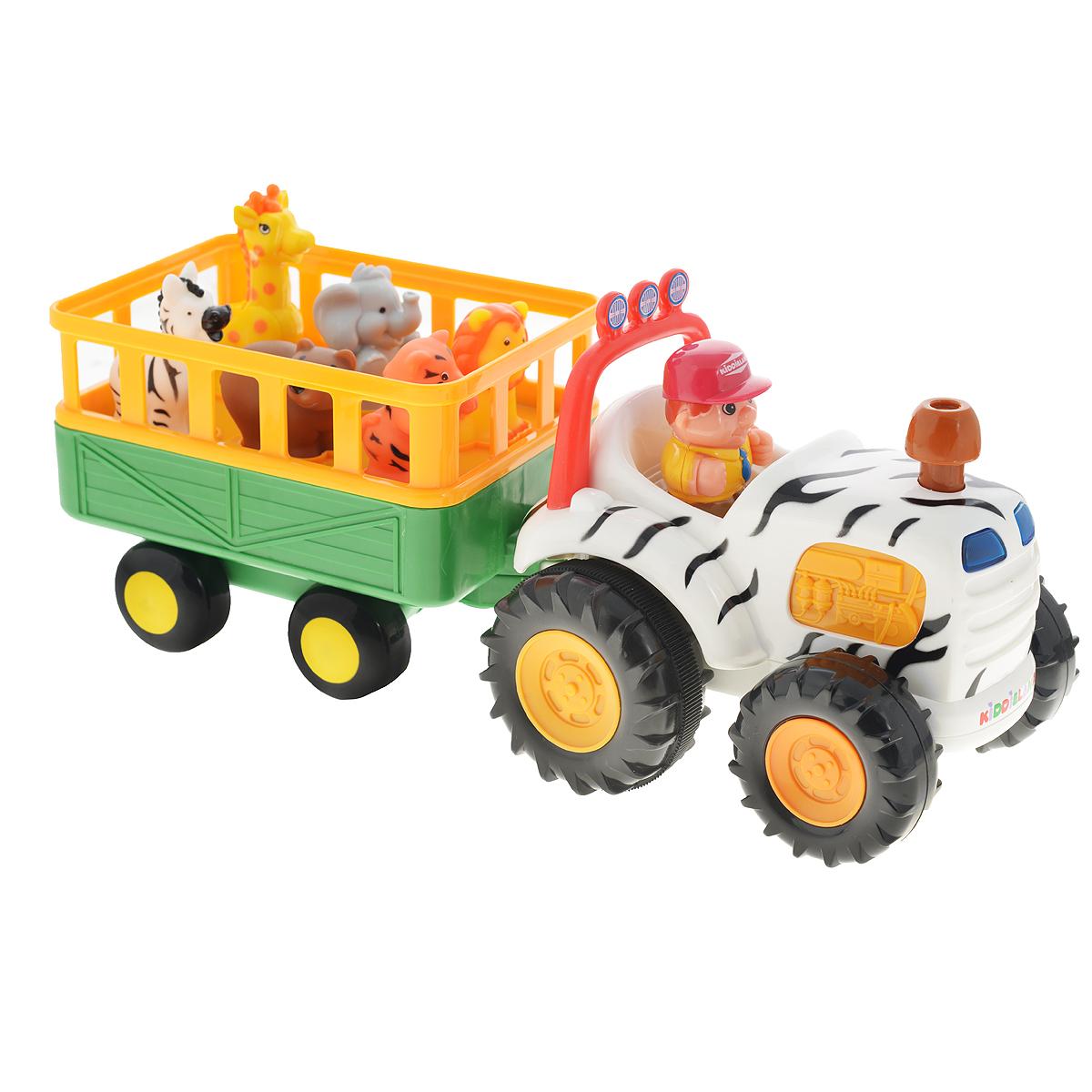 Kiddieland Развивающая игрушка СафариKID 051169Яркая музыкальная игрушка на колесах Kiddieland Сафари, озвученная на русском языке, развлечет малыша мигающими огоньками, приятной музыкой и забавными звуками. При нажатии на трубу трактор едет вперед, при этом звучат реалистичные звуки мотора, тормозов или веселые стишки. В прицепе трактора находятся 5 фигурок диких животных. Фигурки необходимо правильно расставить по своим местам, тогда при нажатии они издают соответствующие реалистичные звуки, читают стишки, а водитель поет песенку. Фигурки зверей (тигр, лев, слон, жираф, зебра, медведь) и водителя легко снимаются, и малыш может играть с ними отдельно. Отправляйтесь в веселую и познавательную поездку! Упаковка презентационно-открытая. Питание: 4 батареи АА (входят в комплект). Размер игрушки: 37 х 13,5 х 17,5 см.