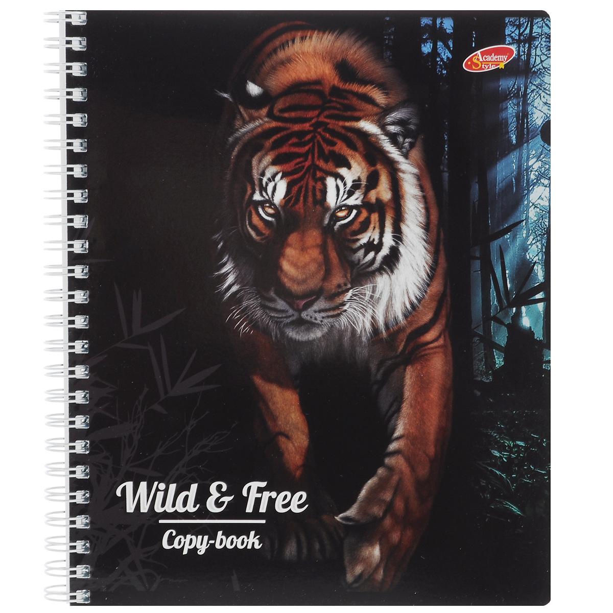 Тетрадь Wild & Free. Tiger, цвет: черный, 96 листов7168/3_ТигрТетрадь Wild & Free. Tiger с представителем дикой природы подойдет для любых работ и студенту, и школьнику. Обложка оформлена изображением тигра и выполнена из мелованного картона с закругленными углами. Внутренний блок тетради состоит из 96 листов бумаги на гребне белого цвета. Все листы расчерчены в клетку без полей.
