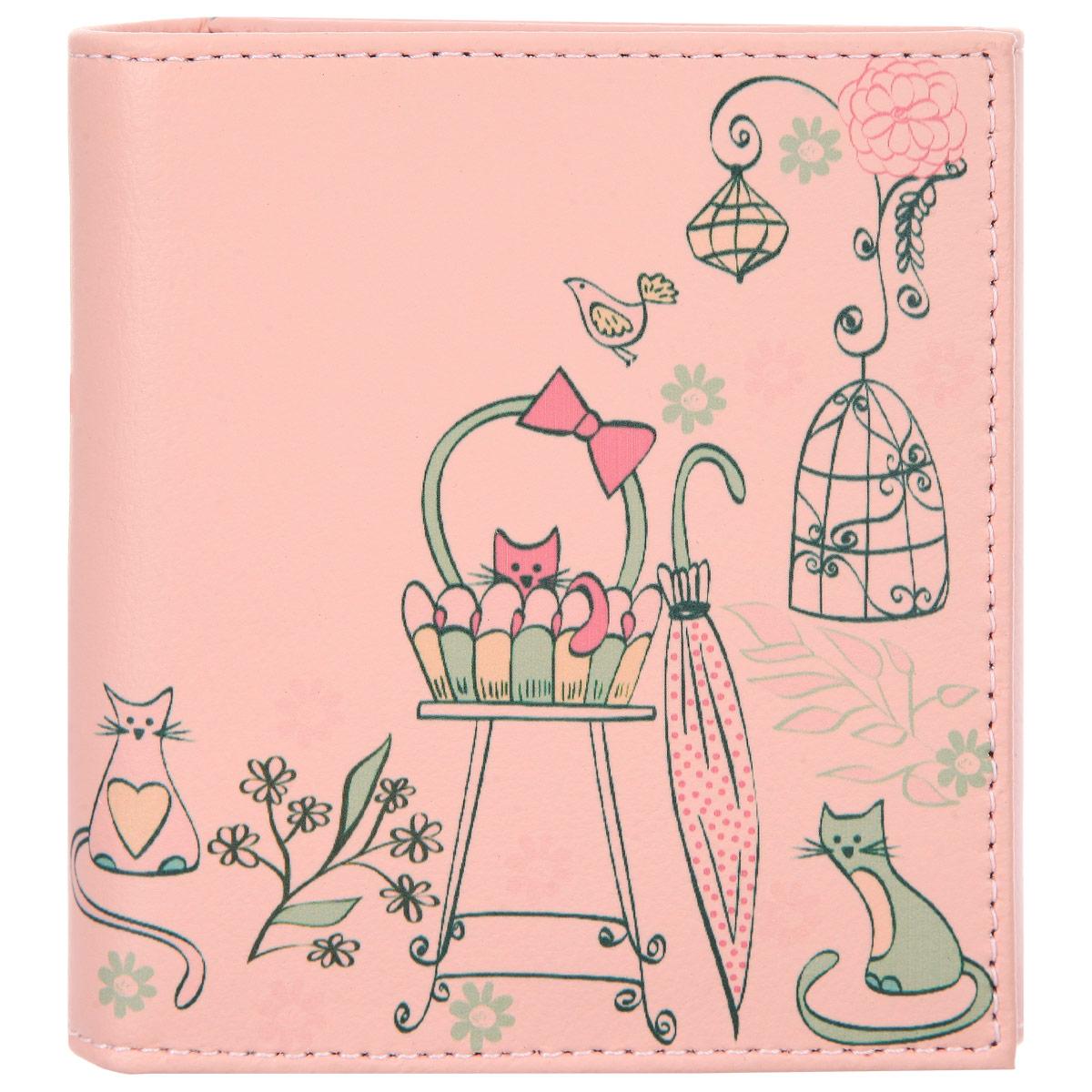 Кошелек женский Befler Kitty, цвет: розовый. PJ.120.-7.TGPJ.120.-7.KITTY розовыйСтильный женский кошелек Befler Kitty выполнен из натуральной кожи и оформлен художественной печатью с изображением кошек. Кошелек раскладывается пополам и застегивается на кнопку. Внутри расположены: одно отделение для купюр, шесть кармашков для пластиковых карт или визиток. Снаружи размещен карман для мелочи на кнопке. Такой кошелек станет прекрасным и стильным подарком человеку, любящему оригинальные и практичные вещи.