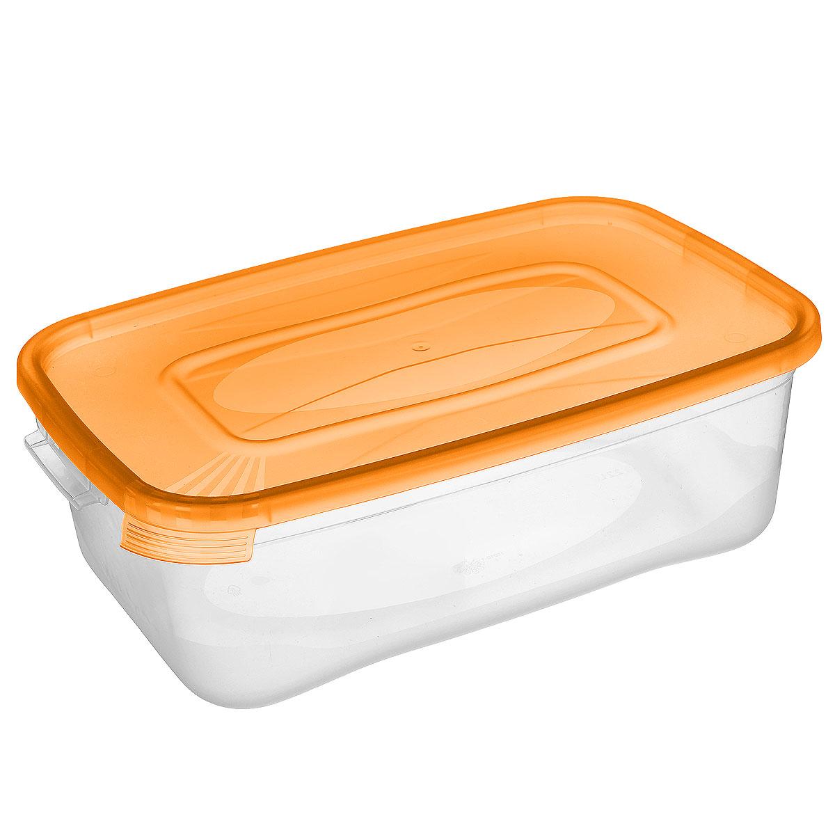 Контейнер Полимербыт Каскад, цвет: прозрачный, оранжевый, 1,2 лС580 оранжевыйКонтейнер Полимербыт Каскад прямоугольной формы, изготовленный из прочного пластика, предназначен специально для хранения пищевых продуктов. Крышка легко открывается и плотно закрывается. Контейнер устойчив к воздействию масел и жиров, легко моется. Прозрачные стенки позволяют видеть содержимое. Контейнер имеет возможность хранения продуктов глубокой заморозки, обладает высокой прочностью. Подходит для использования в микроволновых печах. Можно мыть в посудомоечной машине.