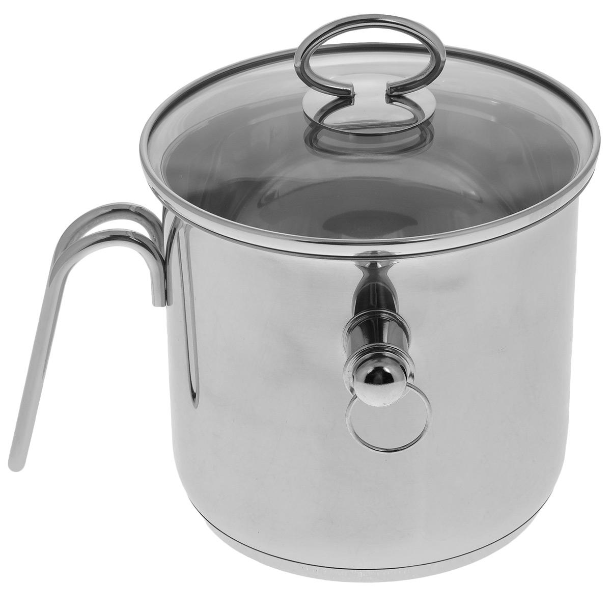 Молоковарка TimA с крышкой, со свистком, 2 лG-16КМолоковарка TimA изготовлена из высококачественной нержавеющей стали марки 18/10. Внешние стенки обладают зеркальным блеском. Молоковарка имеет двойные стенки, между которыми заливается вода. Это исключает подгорание любого продукта. Например, кашу можно готовить без помешивания, так как она никогда не пригорит и не выползет, а молоко не убежит. В такой посуде можно готовить без помешивания любые соусы, кремы, заваривать травяные настои, топить шоколад, мед, масло. Съемный свисток громко известит о закипании жидкости внутри молоковарки. Изделие оснащено ручкой из нержавеющей стали эргономичной формы, которая надежно крепится к стенке, и стеклянной крышкой. Можно использовать на всех видах кухонных плит - электрических, газовых, со стеклянными и керамическими поверхностями, в том числе и на индукционных. Можно мыть в посудомоечной машине. Высота стенки: 15 см. Толщина стенки: 6 мм. Диаметр (по верхнему краю): 16 см.