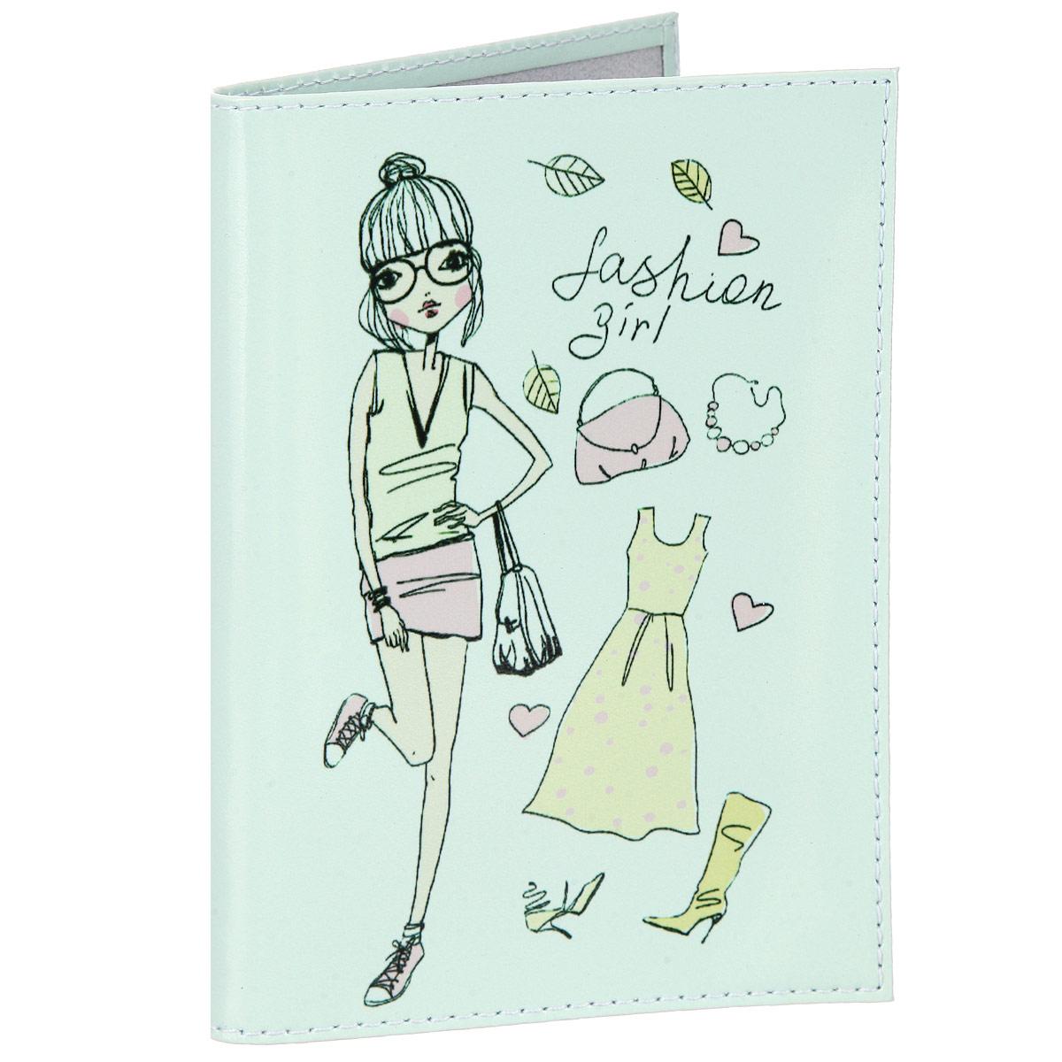 Обложка для паспорта Befler Fashion girl, цвет: ментоловый. BEFLER O.1.-1.FG2O.1.-1.FG2 ментолСтильная обложка для паспорта Befler Fashion girl выполнена из натуральной гладкой кожи, оформлена художественной печатью с изображением кошечек. Обложка для паспорта раскладывается пополам, внутри расположены два пластиковых кармашка. Такая обложка для паспорта станет прекрасным и стильным подарком человеку, любящему оригинальные и практичные вещи.