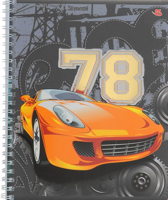Тетрадь Seventeen Авто 78, цвет: серый, оранжевый, на гребне, 48 листов7232/3_Авто-78 оранжеваяТетрадь Seventeen Авто 78 прекрасно подойдет как студенту, так и школьнику. Обложка тетради с изображением оранжевого автомобиля с элементами золотого тиснения выполнена из мелованного картона с закругленными углами. Внутренний блок тетради на гребне состоит из 48 листов высококачественной бумаги повышенной белизны. Все листы расчерчены в клетку без полей.