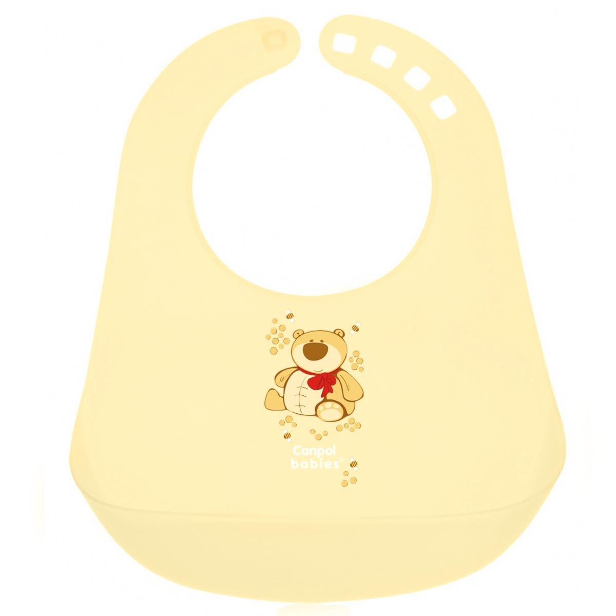 Слюнявчик пластиковый Canpol Babies, цвет: желтый2/404_желтыйСлюнявчик Canpol Babies выполнен из полипропилена и предназначен для детей старше 12 месяцев. Помогает защитить одежду ребенка от загрязнения. Есть большой карман для остатков пищи. Слюнявчик легко держать в чистоте. После каждого использования мойте его в теплой мыльной воде. Предназначен для детей от 12 месяцев до трех лет.