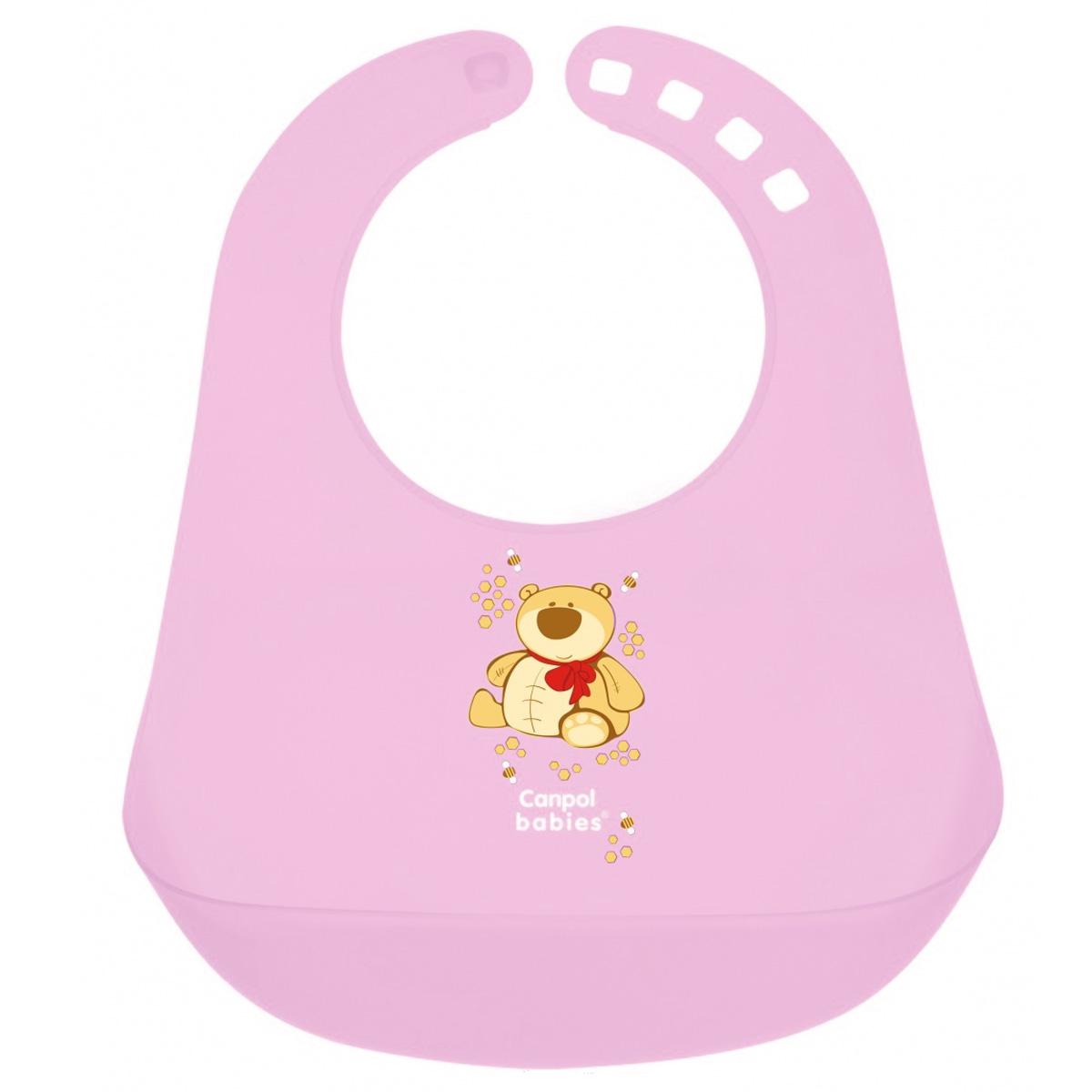 """Слюнявчик пластиковый """"Canpol Babies"""", цвет: розовый"""