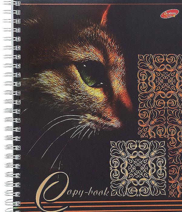 Тетрадь Кошки, 96 листов, формат А5, цвет: коричневый7091/3_КоричневыйТетрадь в клетку Кошки с красочным изображением кошки на обложке подойдет как студенту, так и школьнику. Обложка тетради с закругленными углами выполнена из картона и дополнена оригинальными узорами из металлической пленки. Внутренний блок состоит из 96 листов белой бумаги на гребне. Разметка страниц - в клетку.
