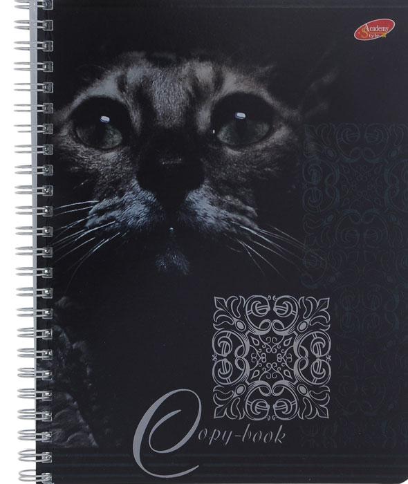 Тетрадь Кошки, 96 листов, формат А5, цвет: серый7091/3_СерыйТетрадь в клетку Кошки с красочным изображением кошки на обложке подойдет как студенту, так и школьнику. Обложка тетради с закругленными углами выполнена из картона и дополнена оригинальными узорами из металлической пленки. Внутренний блок состоит из 96 листов белой бумаги на гребне. Разметка страниц - в клетку.