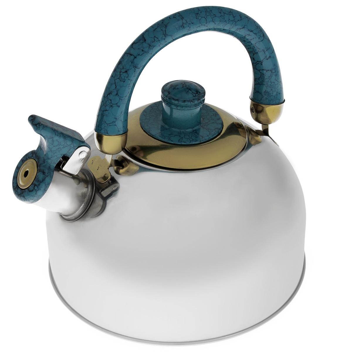 Чайник Mayer & Boch, со свистком, цвет: голубой, 2 л. MB-1622MB-1622 голубойЧайник Mayer & Boch выполнен из шлифованной зеркальной нержавеющей стали высокой прочности. Чайник оснащен откидным свистком, который громко оповестит о закипании воды. Удобная эргономичная ручка и крышка выполнены из бакелита. Такой чайник идеально впишется в интерьер любой кухни и станет замечательным подарком к любому случаю. Подходит для газовых, электрических, стеклокерамических, галогеновых плит. Не подходит для индукционных плит. Можно мыть в посудомоечной машине. Диаметр чайника (по верхнему краю): 8,5 см. Высота чайника (с учетом ручки): 20 см.