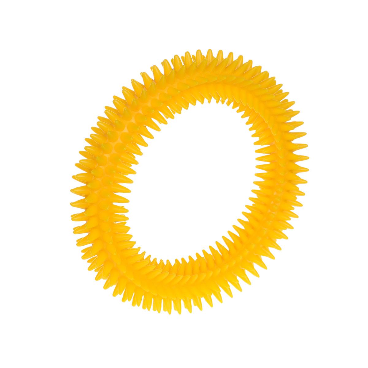 Кольцо массажное с шипами V.I.Pet, цвет: желтый, диаметр 12 см5012_желтыйМассажное кольцо с шипами V.I.Pet предназначено для собак. Прочная игрушка выполнена из пластика с использованием только безопасных, не токсичных красителей. Отлично подходит для игры с собакой, во время которой будет происходить массаж и укрепление десен вашего питомца. Как и в случае с любой другой игрушкой для животных, присматривайте за собакой во время игры. Диаметр: 16 см. Товар сертифицирован.