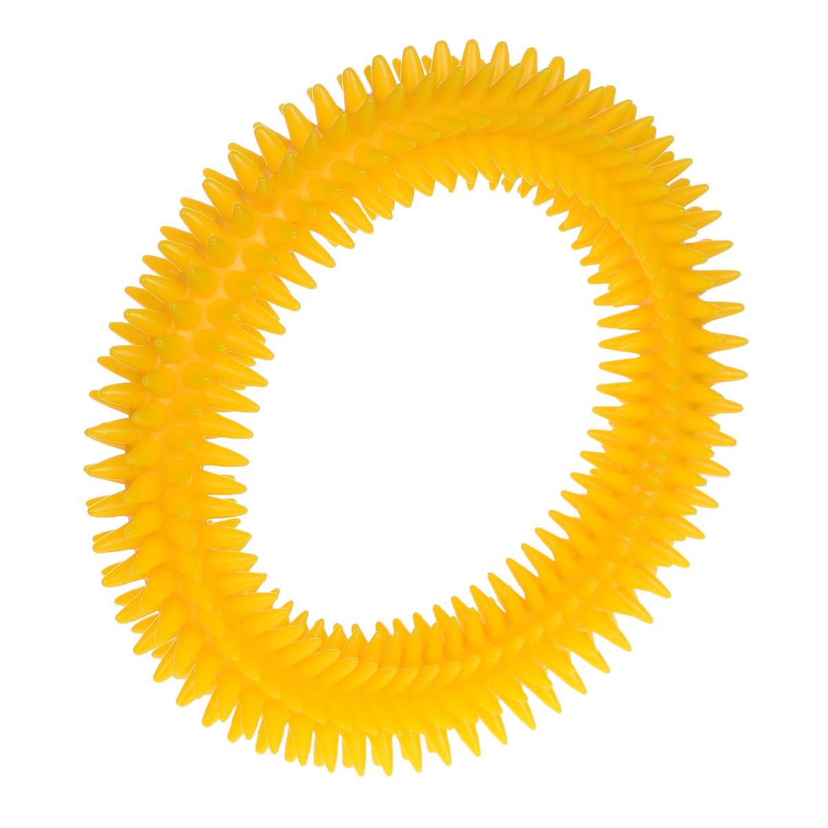 Кольцо массажное с шипами V.I.Pet, цвет: желтый, диаметр 16 см5016_желтыйМассажное кольцо с шипами V.I.Pet предназначено для собак. Прочная игрушка выполнена из пластика с использованием только безопасных, не токсичных красителей. Отлично подходит для игры с собакой, во время которой будет происходить массаж и укрепление десен вашего питомца. Как и в случае с любой другой игрушкой для животных, присматривайте за собакой во время игры. Диаметр: 16 см. Товар сертифицирован.