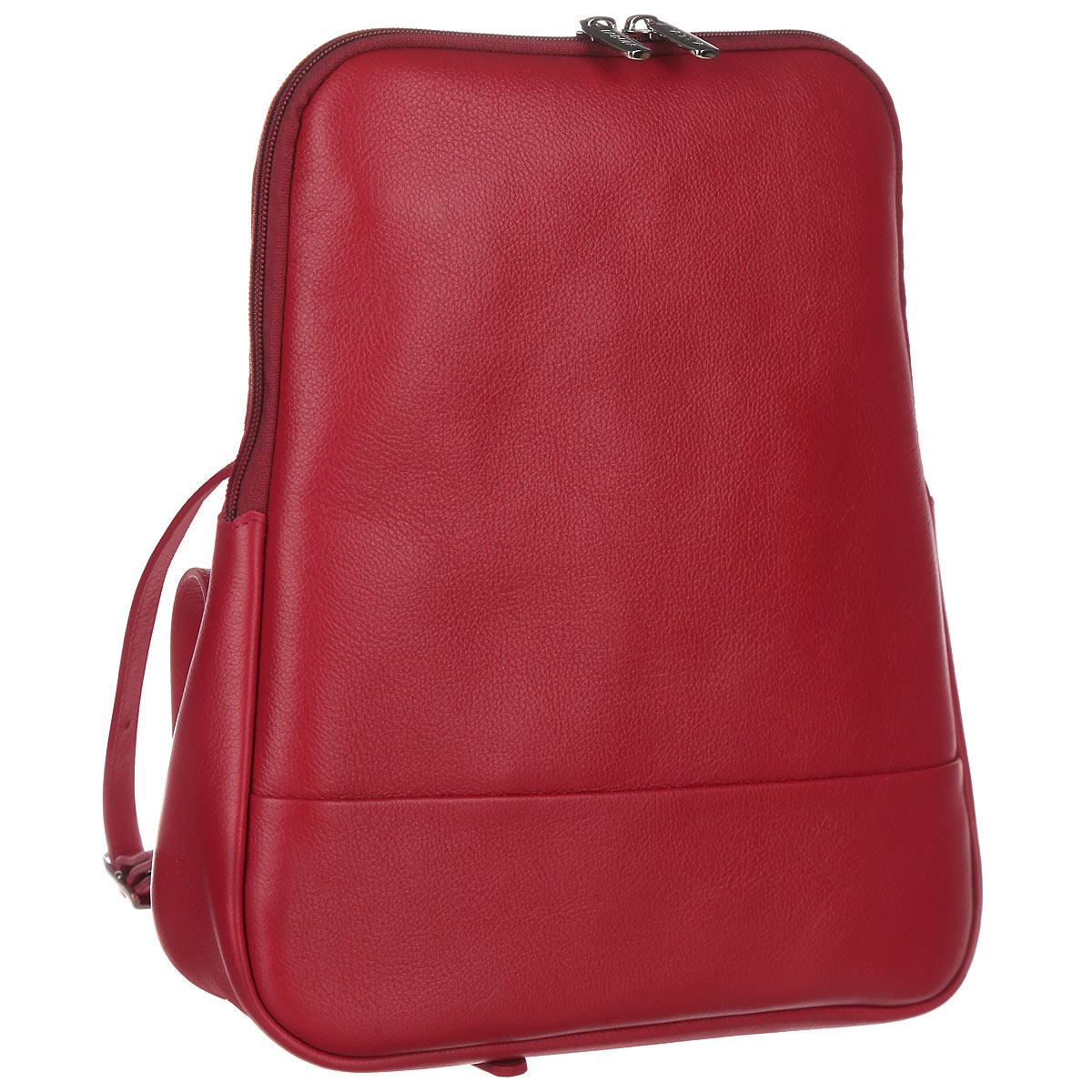 Рюкзак женский Fabula, цвет: ягодный. S.141.FPS.141.FP. ягодныйСтильный женский рюкзак Fabula из коллекции Every day выполнен из натуральной кожи и оформлен фактурным тиснением. Закрывается на молнию. Изделие содержит одно основное отделение, закрывающееся на застежку-молнию. Внутри - врезной карман на молнии, два накладных кармашка для мобильного телефона и мелочей. На внешней оборотной стороне два регулируемых за счет пряжек плечевых ремня. Рюкзак упакован в фирменный пакет. Оригинальный рюкзак станет незаменимым спутником в маленьком путешествии, поможет вам подчеркнуть свою индивидуальность и сделает ваш образ изысканным и завершенным.