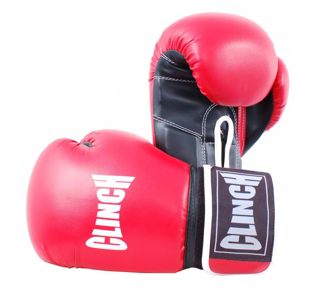 """Clinch Перчатки боксерские """"Clinch"""", цвет: красный, черный, 12 унций. C232"""