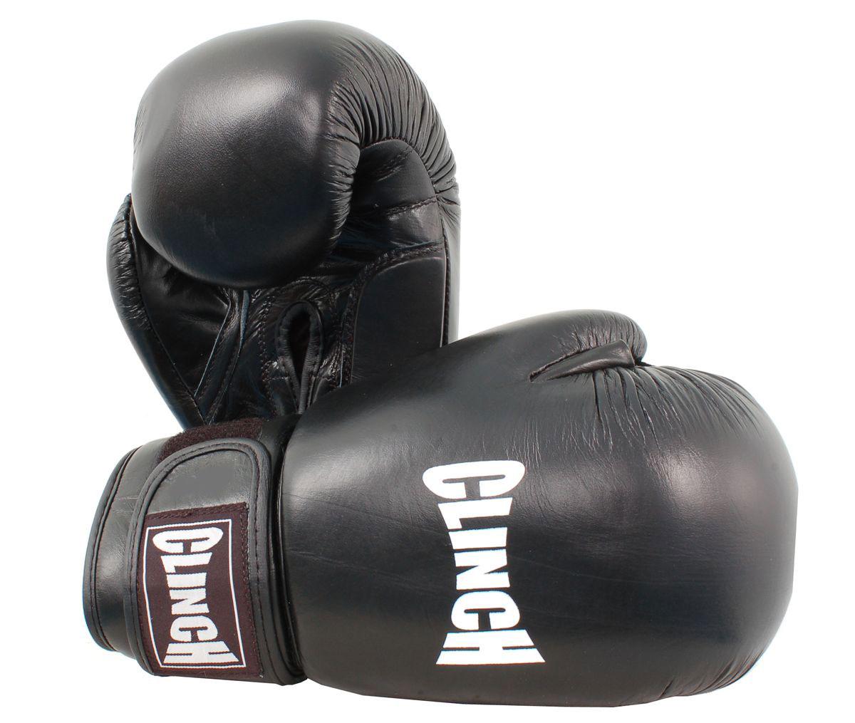 Перчатки боксерские Clinch, цвет: черный, 12 унций. C228C228Боксерские перчатки Clinch идеально подойдут для соревнований, боев и спаррингов. Перчатки выполнены из высококачественной натуральной кожи с инжекционным литым вкладышем, смягчающим силу удара и дополнительно защищающим руку. На тыльной стороне перчаток предусмотрены отверстия для вентиляции. Большой палец соединен с перчаткой небольшой плотной перемычкой. Перчатки прочно фиксируются на запястье широкой манжетой на липучке, что гарантирует быстроту и удобство одевания.