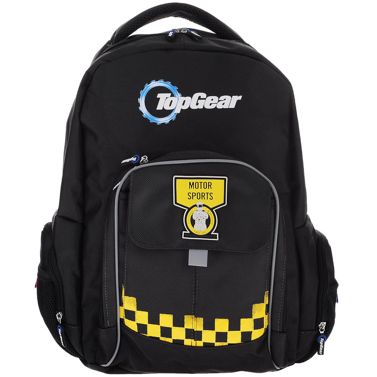 Рюкзак подростковый Proff Top Gear, цвет: серый, желтыйTG15-BP-20Рюкзак подростковый Proff Top Gear станет надежным спутником в получении знаний. Он выполнен из полиэстера, имеет оригинальное оформление. Рюкзак имеет одно большое отделение, которое закрывается на молнию. Внутри большого отделения расположен сквозной накладной карман на липучке, два небольших кармана для мелочи, три кармашка для ручек или карандашей, а также карабин для ключей. Помимо основного отделения, рюкзак имеет один внешний карман на молнии и один на липучке с лицевой стороны, и по два боковых кармана с каждой стороны, один на молнии, один открытый на резинке. Рюкзак оснащен широкими плечевыми ремнями с поролоновым наполнителем, которые регулируются по длине, и мягкой ручкой для переноски в руке, а удобная спинка анатомической формы будет оберегать спину при длительных нагрузках.