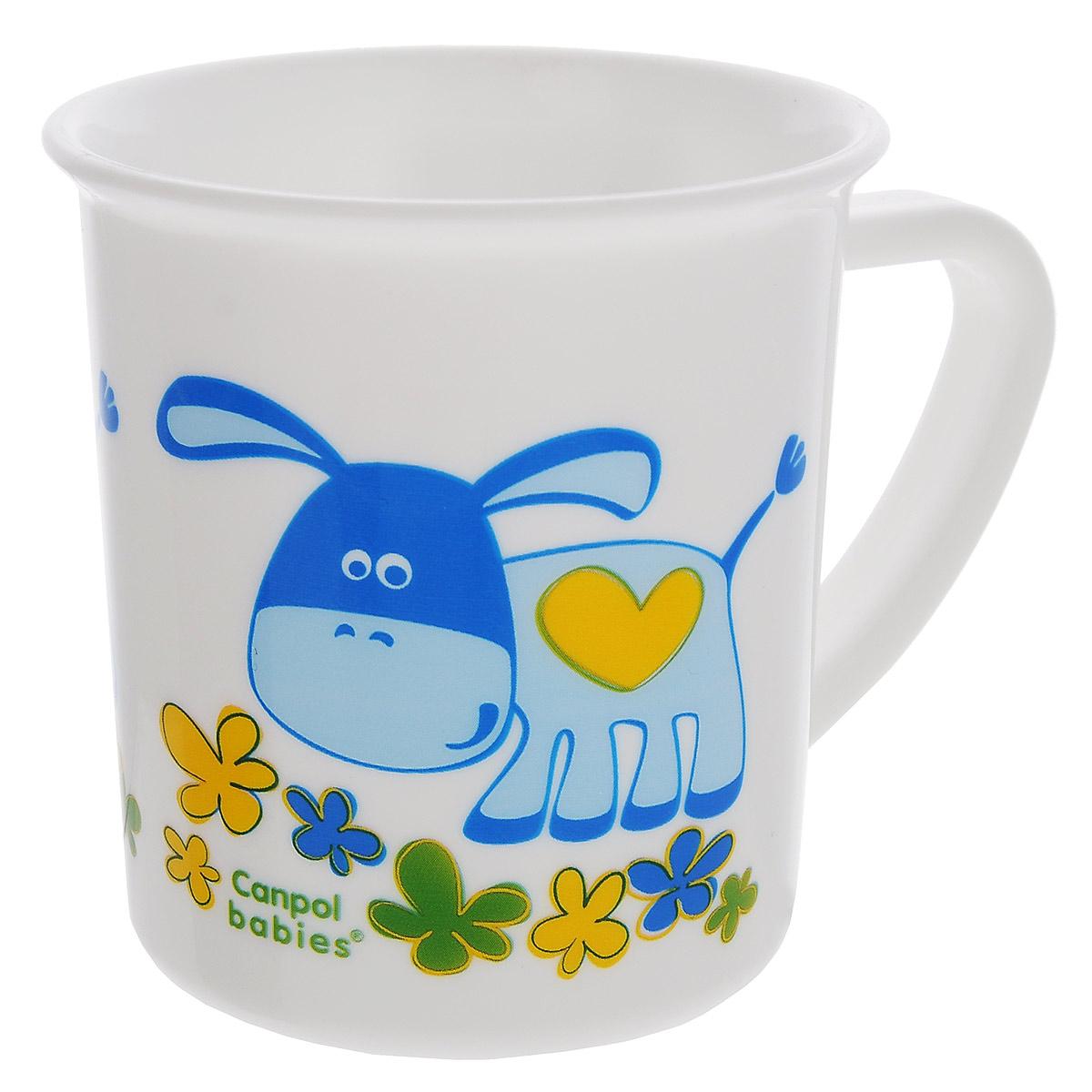 Canpol Babies Чашка детская Ослик цвет голубой4/413_голубой/осликЧашка детская Canpol Babies Ослик предназначена для того, чтобы приучить малыша пить из посуды для взрослых. Чашка выполнена из безопасного полипропилена и оформлена изображением милого ослика. Чашка выглядит совсем как обычная, однако она меньше по объему. Если случайно малыш уронит чашку, то она не разобьется.