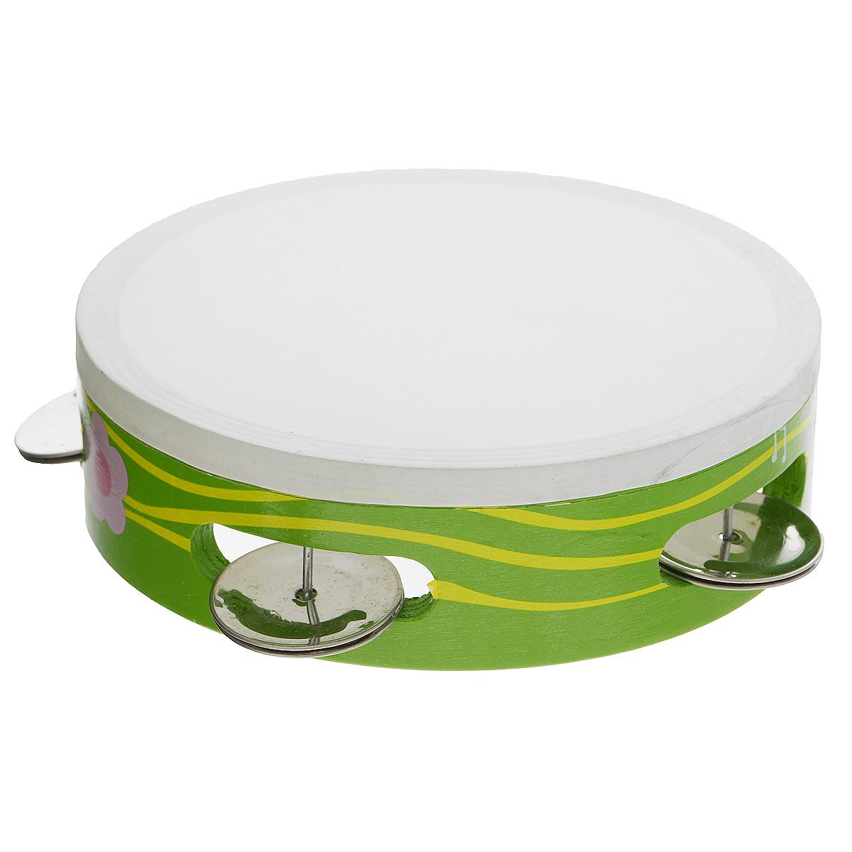 Музыкальная игрушка Бубен, цвет: зеленый. Д212_зеленыйД212_зеленыйМузыкальная игрушка Бубен состоит из деревянного корпуса с ярким рисунком в виде нот, цветка и пчелки и железных дисков, звенящих при ударе и движении инструмента. Бубен издает приятный громкий звон, который непременно понравится ребенку. С помощью этого инструмента вы сможете устроить веселый концерт и порадовать своих родных и друзей. Музыкальная игрушка Бубен поможет вашему ребенку развить чувство ритма, а также привить малышу любовь к музыке.