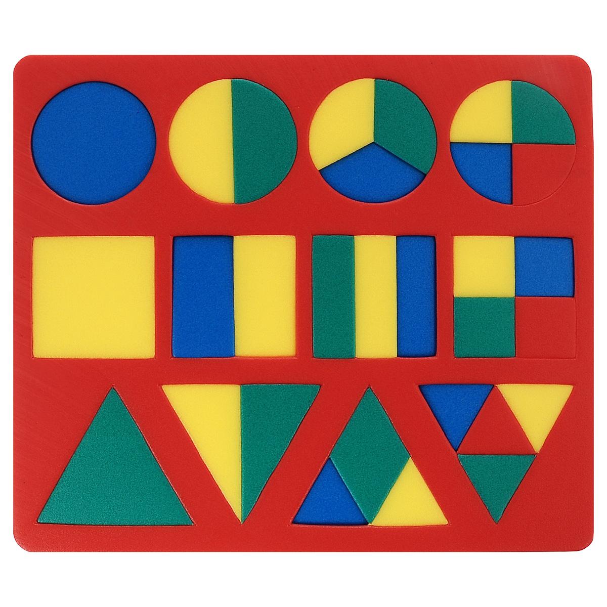 Мягкая мозаика Геометрия, цвет основы: красный45319_красныйМягкая мозаика Геометрия станет для вашего малыша приятным сюрпризом. С ее помощью ребенок в увлекательной форме познакомится с основными геометрическими фигурами, научится различать их по внешним признакам. Изготовленная из современного, легкого, эластичного, прочного материала, который обеспечивает большую долговечность, мозаика является абсолютно безопасной для детей. Мозаика настолько универсальна и практична, что с ней можно играть практически везде. Кроме того, благодаря особой структуре материала и свойству прилипать к мокрой поверхности, она является идеальной игрушкой для ванны и сделает процесс купания приятной забавой для ребенка. Данная мозаика способствует развитию у ребенка мелкой моторики, образного и логического мышления, а также наблюдательности и фантазии.