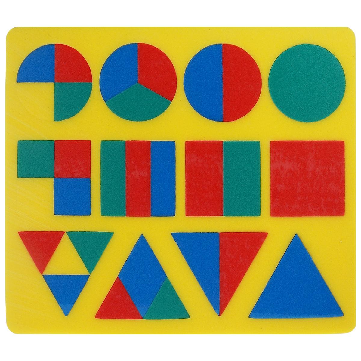 Мягкая мозаика Геометрия, цвет основы: желтый45319_желтыйМягкая мозаика Геометрия станет для вашего малыша приятным сюрпризом. С ее помощью ребенок в увлекательной форме познакомится с основными геометрическими фигурами, научится различать их по внешним признакам. Изготовленная из современного, легкого, эластичного, прочного материала, который обеспечивает большую долговечность, мозаика является абсолютно безопасной для детей. Мозаика настолько универсальна и практична, что с ней можно играть практически везде. Кроме того, благодаря особой структуре материала и свойству прилипать к мокрой поверхности, она является идеальной игрушкой для ванны и сделает процесс купания приятной забавой для ребенка. Данная мозаика способствует развитию у ребенка мелкой моторики, образного и логического мышления, а также наблюдательности и фантазии.