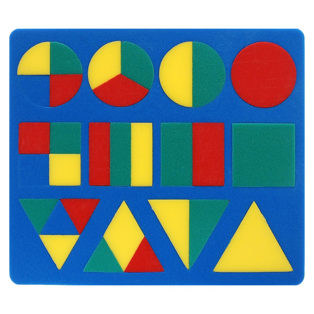 Мягкая мозаика Геометрия, цвет основы: синий45319_синийМягкая мозаика Геометрия станет для вашего малыша приятным сюрпризом. С ее помощью ребенок в увлекательной форме познакомится с основными геометрическими фигурами, научится различать их по внешним признакам. Изготовленная из современного, легкого, эластичного, прочного материала, который обеспечивает большую долговечность, мозаика является абсолютно безопасной для детей. Мозаика настолько универсальна и практична, что с ней можно играть практически везде. Кроме того, благодаря особой структуре материала и свойству прилипать к мокрой поверхности, она является идеальной игрушкой для ванны и сделает процесс купания приятной забавой для ребенка. Данная мозаика способствует развитию у ребенка мелкой моторики, образного и логического мышления, а также наблюдательности и фантазии.