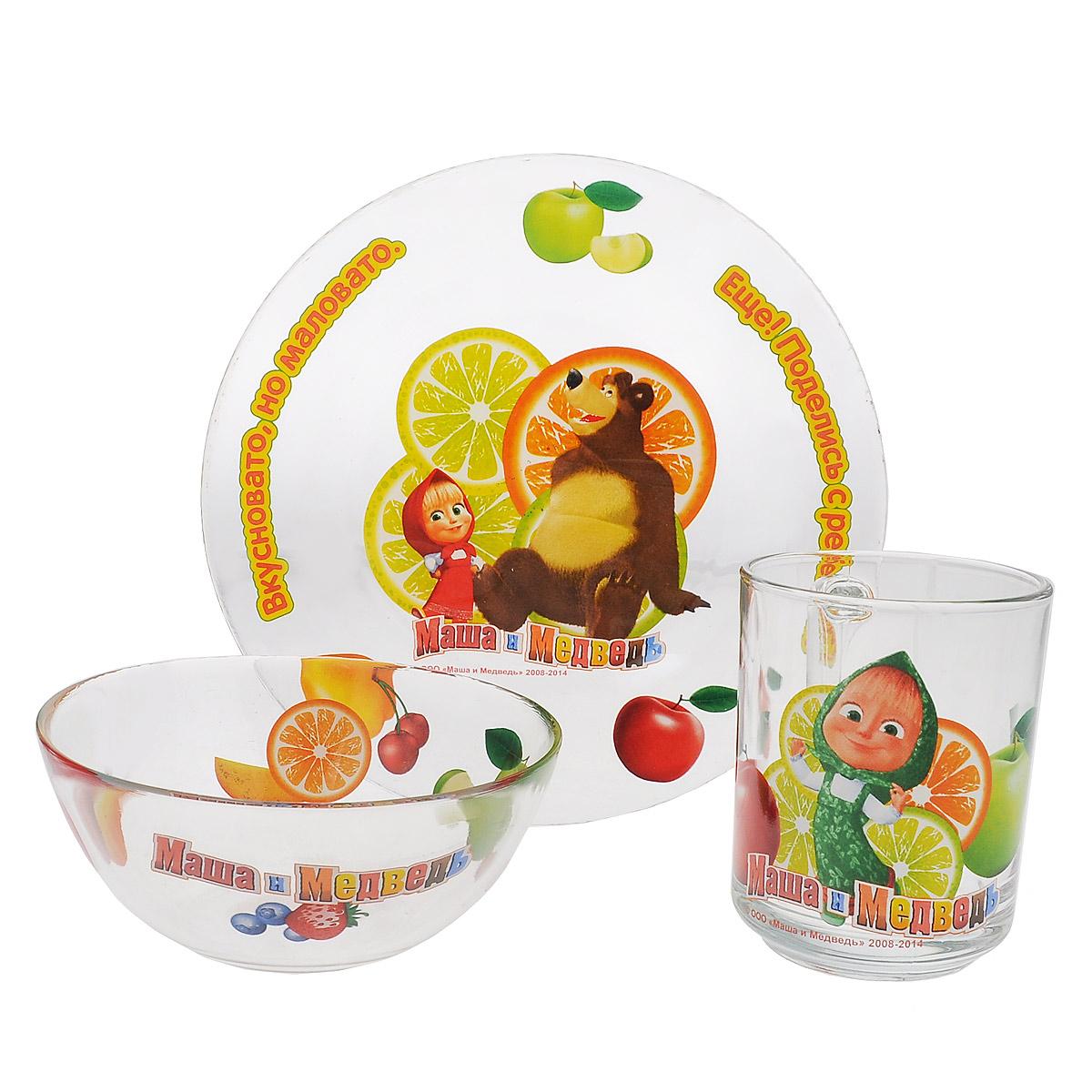 """Набор детской посуды Маша и Медведь """"Цитрусовый"""", 3 предмета"""