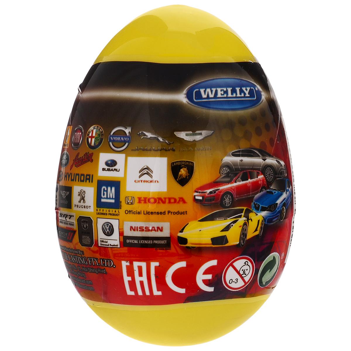 Welly Яйцо-сюрприз с машинкой цвет желтый52020E_желтыйЯйцо-сюрприз Welly Модель машины непременно привлечет внимание любого мальчика. Ведь в яйце его ждет сюрприз: моделька машины одного из гигантов мирового автопрома! Каждая игрушечная модель машины - точная копия, сделанная по лицензии автопроизводителя. Модели прекрасно детализированы, несмотря на маленький размер. Машинки выполнены из металла и пластика. Порадуйте своего малыша таким великолепным подарком! Модели автомобилей продаются в закрытом яйце-сюрпризе, поэтому узнать, какая машинка внутри, можно только при открытии яйца.
