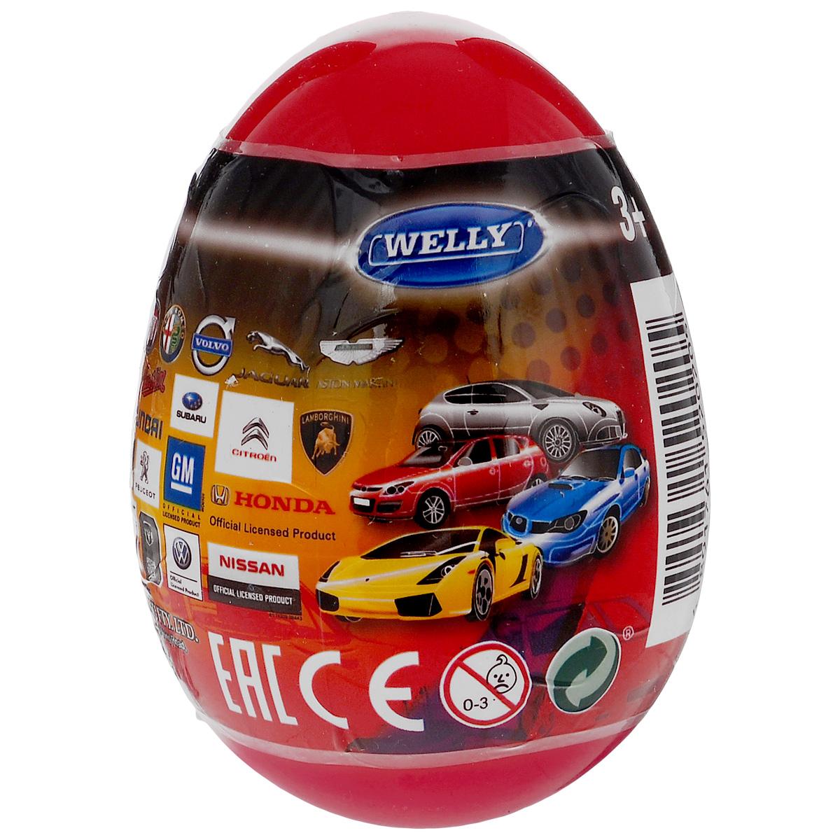 Welly Яйцо-сюрприз с машинкой цвет темно-красный52020E_темно-красныйЯйцо-сюрприз Welly Модель машины непременно привлечет внимание любого мальчика. Ведь в яйце его ждет сюрприз: моделька машины одного из гигантов мирового автопрома! Каждая игрушечная модель машины - точная копия, сделанная по лицензии автопроизводителя. Модели прекрасно детализированы, несмотря на маленький размер. Машинки выполнены из металла и пластика. Порадуйте своего малыша таким великолепным подарком! Модели автомобилей продаются в закрытом яйце-сюрпризе, поэтому узнать, какая машинка внутри, можно только при открытии яйца.