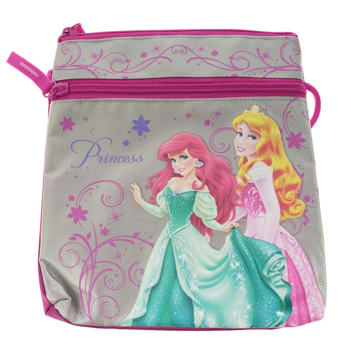 Сумка детская Princess, цвет: серый, розовыйPRAP-UT-481Детская сумка Princess выполнена из прочного полиэстера и оформлена термоаппликацией с изображением Ариэль и Авроры - очаровательных принцесс из мультфильмов Диснея. Сумочка содержит одно отделение и закрывается на застежку-молнию. На лицевой стороне расположен прорезной карман на застежке-молнии. Сумочка оснащена шнурком для переноски. Такая сумочка непременно порадует вашу малышку и позволит ей подчеркнуть свою индивидуальность.