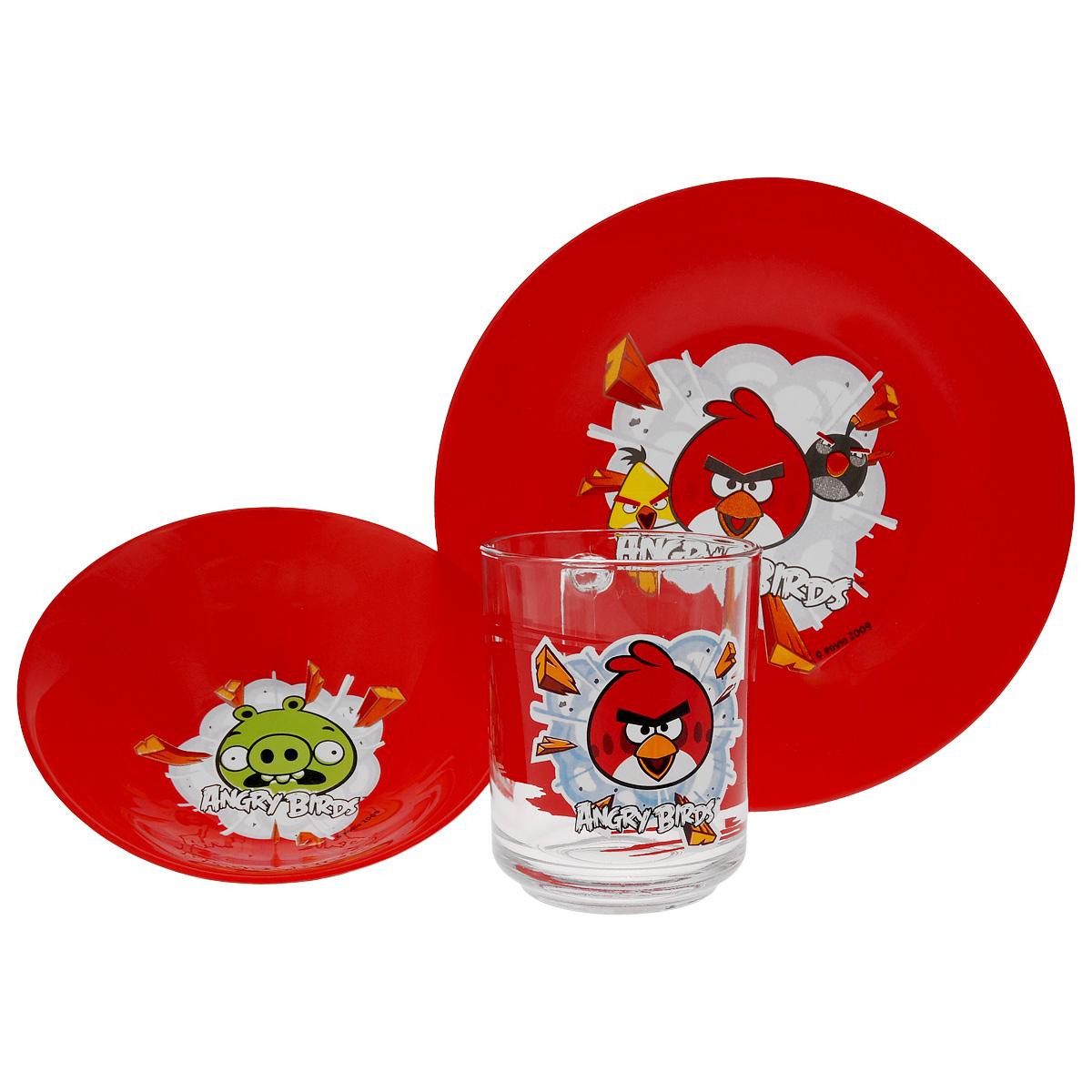Набор детской посуды Angry Birds, цвет: красный, 3 предмета1057897Набор детской посуды Angry Birds, выполненный из стекла, состоит из кружки, тарелки и салатника. Изделия оформлены изображением любимых героев популярного мультфильма Angry Birds. Материалы изделий нетоксичны и безопасны для детского здоровья. Детская посуда удобна и увлекательна для вашего малыша. Привычная еда станет более вкусной и приятной, если процесс кормления сопровождать игрой и сказками о любимых героях. Красочная посуда является залогом хорошего настроения и аппетита ваших детей. Можно мыть в посудомоечной машине. Диаметр тарелка: 19,5 см. Диаметр салатника: 14 см. Высота салатника: 4,5 см. Объем кружки: 250 мл. Диаметр кружки (по верхнему краю): 7 см. Высота кружки: 9,5 см.