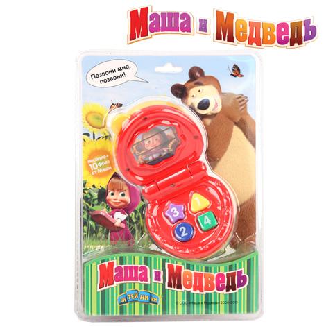 Телефон Маша и Медведь, со светом и звукомEC10885,A24607Телефон МАША И МЕДВЕДЬ со светом и звуком, на батарейках. Уникальная игрушка, которая неизменно будет радовать вашего ребенка, а также способствовать полноценному и гармоничному развитию его личности. У телефона 4 кнопки . Звучит 1 песенка , 10 фраз от Маши. Работает от 3- х LR4G батареек (Входят в комплект).