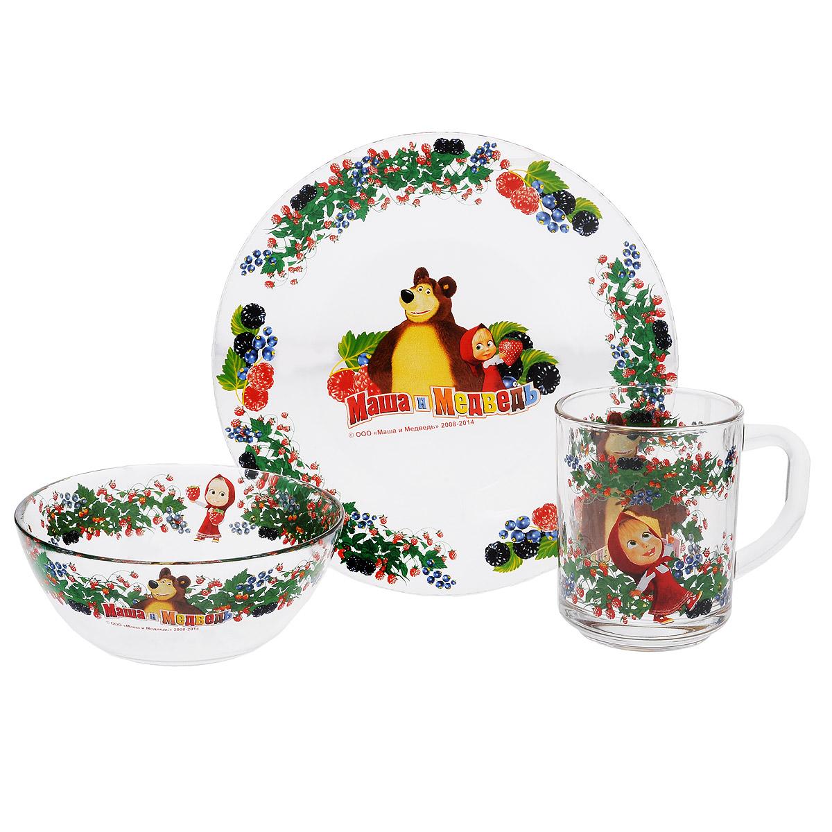 Набор детской посуды Маша и Медведь Малина, 3 предмета9559007Набор детской посуды Маша и Медведь Малина, выполненный из прозрачного стекла, состоит из кружки, тарелки и салатника. Материалы изделий нетоксичны и безопасны для детского здоровья. Изделия оформлены изображением любимых героев популярного мультфильма Маша и Медведь. Детская посуда удобна и увлекательна для вашего малыша. Привычная еда станет более вкусной и приятной, если процесс кормления сопровождать игрой и сказками о любимых героях. Красочная посуда является залогом хорошего настроения и аппетита ваших детей. Пригодна для мытья в посудомоечной машине. Диаметр тарелка: 19,5 см. Диаметр салатника: 12,5 см. Высота салатника: 5,5 см. Объем кружки: 250 мл. Диаметр кружки (по верхнему краю): 7 см. Высота кружки: 9 см.