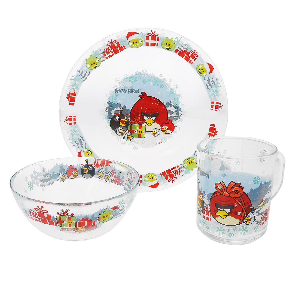 Набор детской посуды Angry Birds Зима, 3 предмета9559017Набор детской посуды Angry Birds Зима, выполненный из прозрачного стекла, состоит из кружки, тарелки и салатника. Изделия оформлены изображением любимых героев популярного мультфильма Angry Birds. Материалы изделий нетоксичны и безопасны для детского здоровья. Детская посуда удобна и увлекательна для вашего малыша. Привычная еда станет более вкусной и приятной, если процесс кормления сопровождать игрой и сказками о любимых героях. Красочная посуда является залогом хорошего настроения и аппетита ваших детей. Можно мыть в посудомоечной машине. Диаметр тарелки: 19,5 см. Диаметр салатника: 12,5 см. Высота салатника: 5,5 см. Объем кружки: 250 мл. Диаметр кружки (по верхнему краю): 7 см. Высота кружки: 9 см.