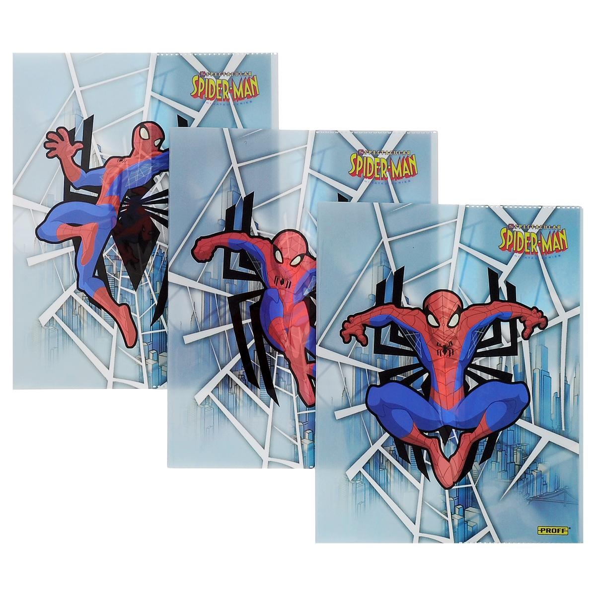 Набор обложек для тетрадей и дневников Proff Spider-Man, 35,5 см х 21,6 см, 3 штBSL_ROZ_SPIDER-MANПрочная обложка Proff Spider-Man, изготовленная из ПВХ, защитит поверхность тетради или дневника от изнашивания и загрязнений. Изделие оформлено ярким изображением любимого супергероя.