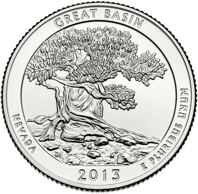 Монета номиналом 25 центов серии Национальные парки. Грейт-Бейсин. Медно-никелевый сплав. США, 2013 год330249Состояние: UNC (не бывшая в обращении) Диаметр монеты: 24 мм.