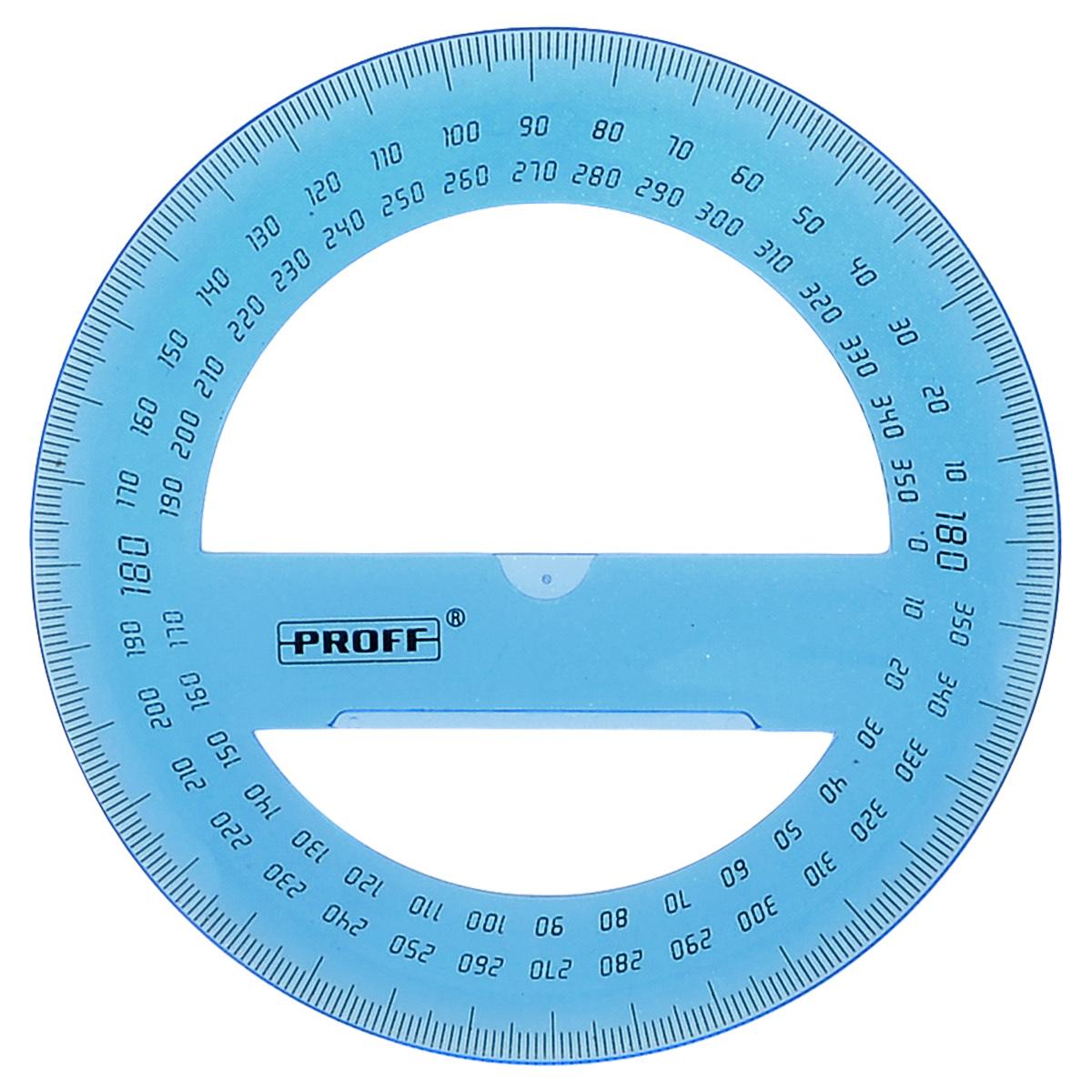 Транспортир Proff, 360 градусов, цвет: голубойBP271_голубойТранспортир Proff с углом 360 градусов выполнен из прозрачного пластика с четкой миллиметровой шкалой делений.