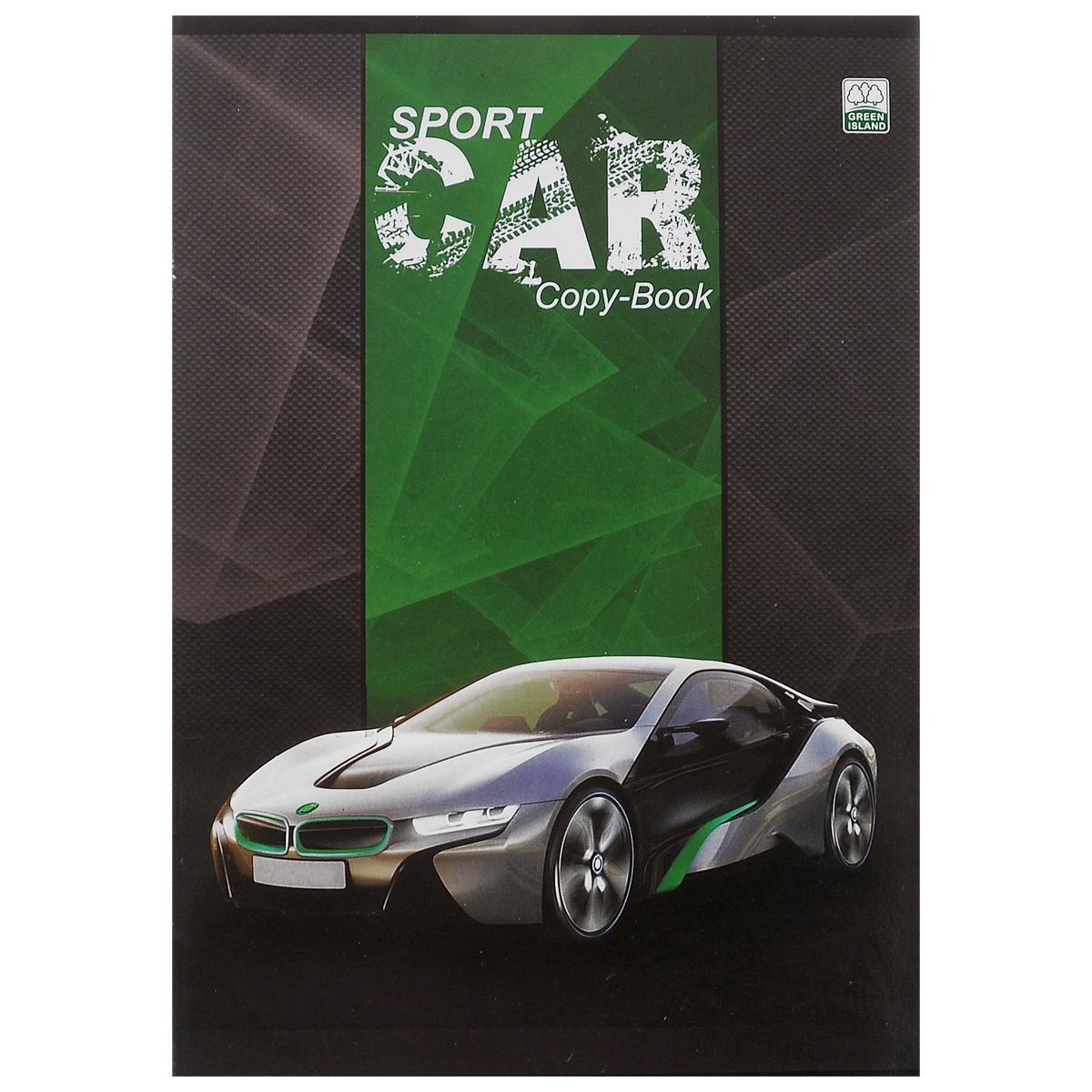 """Тетрадь в клетку """"Sport Cars"""", цвет: серый, зеленый, 96 листов. 6641/3"""