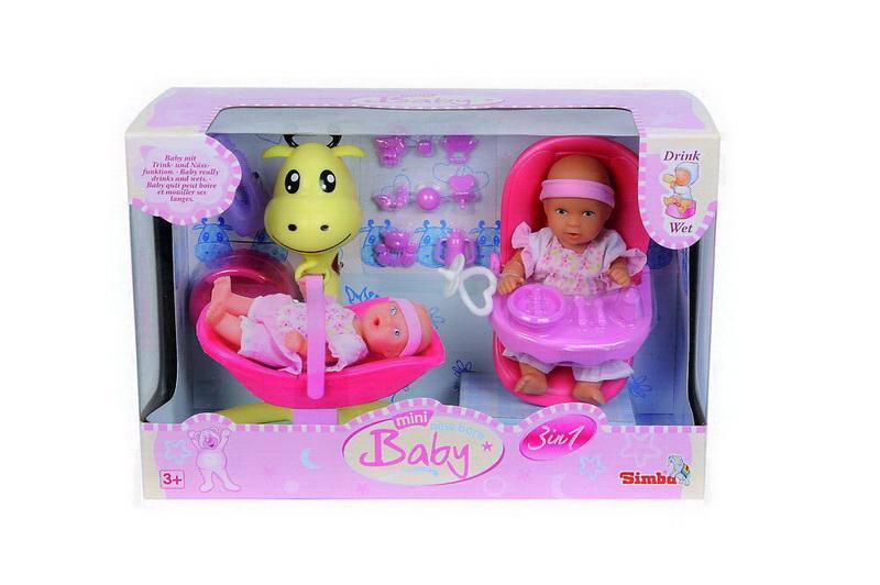 Simba Игровой набор5030677Игровой набор 3-в-1 (малыш пьет-писает)+аксессуары. В наборе: кукла, посуда, ванночка. Возраст: от 3 лет.