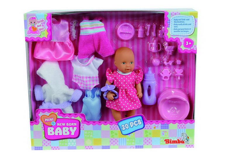 Simba Пупс + набор одежды5033387Виниловая кукла пьет-писает. В наборе кукла, одежда, посуда (20 предметов). Возраст: от 3-х лет.
