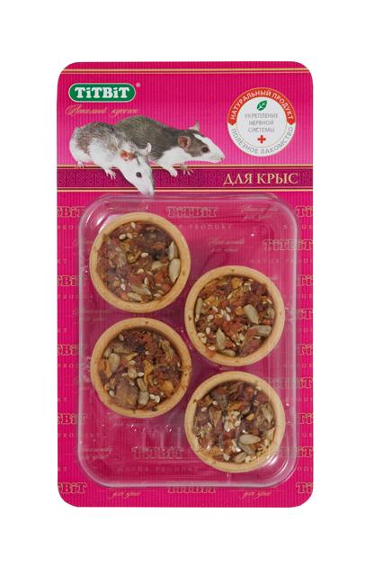 Лакомство для крыс Titbit, тарталетки с курагой и семечками, 4 шт1209Тарталетки представляют собой корзиночки из хрустящего пресного теста с лакомой и полезной для грызунов начинкой. Обогащают ежедневный рацион витаминами, макро – и микроэлементами. Продукт не содержит искусственных красителей и ароматизаторов. Курага, входящая в состав продукта, содержит калий, фосфор, железо, бета-каротин, витамины С, Е, В1, В2, РР, флавоноиды. Дуэт подсолнечных и тыквенных семечек – двойная польза для здоровья грызуна. Ведь семечки - хороший источник калия и фосфора, а также они содержат белок, железо и калий. Состав: Мука 1 сорта, курага, просо, лёгкое говяжье, семена подсолнечника, семена тыквы. Полезные вещества: сбалансированный витаминно-минеральный комплекс.