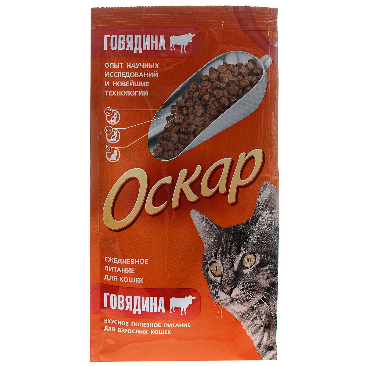 Корм сухой Оскар для кошек, с мясом говядины, 400 г14139Сухой корм для кошек Оскар - полноценное питание, которое содержит полный комплекс веществ для здоровья вашего питомца. Особенности рациона: Необходимое сочетание ингредиентов для достижения правильной усвояемости питательных веществ организмом. Источник линолевой кислоты и правильного уровня витаминов группы В благотворно влияют на кожу и шерсть. Таурин - для здоровья глаз и сердца. Состав: злаки (в т.ч. рис), экстракт белка растительного происхождения, мясо и продукты животного происхождения (в т.ч. говядина - печень), подсолнечное масло, минеральные добавки, гидролизованная печень, пульпа сахарной свеклы (жом), овощи, витамины, пивные дрожжи, таурин, антиоксидант. Анализ: сырой протеин 30%, сырой жир 10%, сырая зола 6,5%, сырая клетчатка 2,5%, влажность 10%, фосфор 0,9%, кальций 1,05%, витамин А 5000 МЕ/кг, витамин Д 500 МЕ/кг, витамин Е 30 мг/кг. Энергетическая ценность: 335 ккал/100 г. Товар сертифицирован.