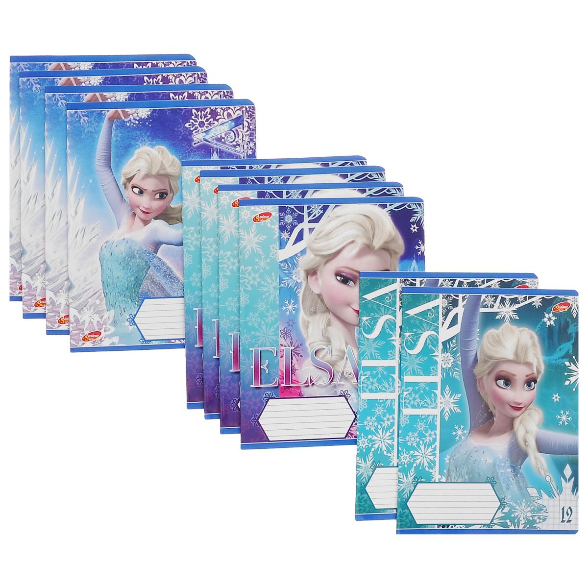 Набор тетрадей в клетку Frozen, цвет: голубой, белый, фиолетовый, 12 листов, 10 шт. D3624/5D3624/5_Вид 1Комплект тетрадей Frozen включает в себя 10 тетрадей в линейку по 12 листов. Обложка каждой тетради оформлена изображением диснеевской принцессы Эльзы. На задней обложке каждой тетради представлена таблица умножения. Внутренний блок тетрадей состоит из 12 листов белой бумаги, соединенных скрепками. Стандартная линовка в клетку дополнена полями, совпадающими с лицевой и оборотной стороны листа. В наборе представлены тетради с тремя вариантами изображений обложек.