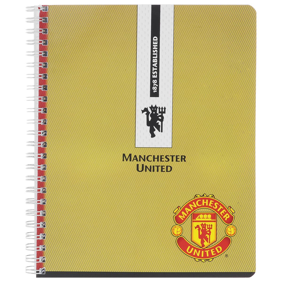 Тетрадь в клетку Manchester United, цвет: горчичный, 96 листов. MT6/3MT6/3_горчичныйТетрадь Manchester United подойдет для любых работ и студенту, и школьнику. Гладкая обложка тетради с логотипом Manchester United выполнена из мелованного картона с закругленными углами. Внутренний блок тетради соединен металлической пружиной и состоит из 96 листов высококачественной бумаги повышенной белизны.