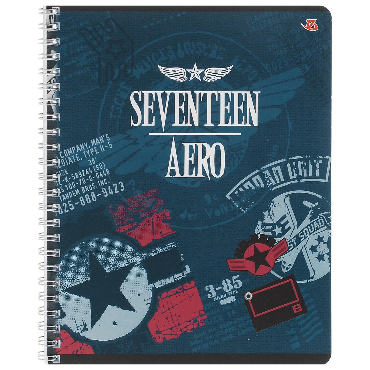 Тетрадь в клетку Seventeen Aero, цвет: синий, 80 листов. 6659/36659/3_СинийТетрадь Seventeen Aero подойдет для любых работ и студенту, и школьнику. Фактурная обложка тетради с элементами серебряного тиснения выполнена из мелованного картона с закругленными углами. Внутренний блок тетради соединен металлической пружиной и состоит из 80 листов высококачественной бумаги повышенной белизны.