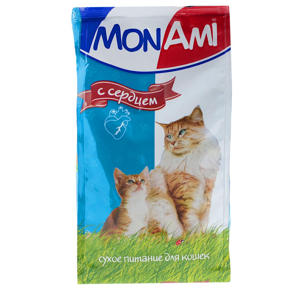 Корм сухой для кошек Mon Ami, с сердцем, 400 г59314Сухой корм для кошек Mon Ami - это полноценное сбалансированное питание для кошек, разработанное с использованием современных технологий. Особенности рациона: Необходимое сочетание ингредиентов для достижения правильной усвояемости питательных веществ организмом. Источник линолевой кислоты и правильного уровня витаминов группы В благотворно влияют на кожу и шерсть. Состав: злаки, экстракт белка растительного происхождения, мясо и продукты животного происхождения (в т.ч. сердце), подсолнечное масло, минеральные добавки, пульпа сахарной свеклы (жом), витамины, пивные дрожжи, антиоксидант. Анализ: сырой протеин 30%, сырой жир 10%, сырая зола 7%, сырая клетчатка 2,5%, влажность 10%, фосфор 0,9%, кальций 1,05%, витамин А 5000 МЕ/кг, витамин Д 500 МЕ/кг, витамин Е 30 мг/кг. Энергетическая ценность: 333 ккал/100 г. Товар сертифицирован.