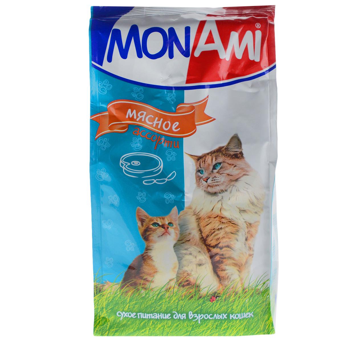 Корм сухой для кошек Mon Ami, мясное ассорти, 400 г14132Сухой корм для кошек Mon Ami - это полноценное сбалансированное питание для кошек, разработанное с использованием современных технологий. Особенности рациона: Необходимое сочетание ингредиентов для достижения правильной усвояемости питательных веществ организмом. Источник линолевой кислоты и правильного уровня витаминов группы В благотворно влияют на кожу и шерсть. Таурин - для здоровья глаз и сердца. Состав: злаки (пшеница, рис), экстракт белка растительного происхождения, мясо и продукты животного происхождения (в т.ч. кролик), подсолнечное масло, минеральные добавки, гидролизованная печень, пульпа сахарной свеклы (жом), витамины, пивные дрожжи, таурин, антиоксидант. Анализ: сырой протеин 30%, сырой жир 10%, сырая зола 7%, сырая клетчатка 2,5%, влажность 10%, фосфор 0,9%, кальций 1,05%, витамин А 5000 МЕ/кг, витамин Д 500 МЕ/кг, витамин Е 30 мг/кг. Энергетическая ценность: 333 ккал/100 г. Товар сертифицирован.